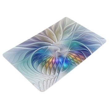 Floral Fantasy, abstract and modern Fractal Art Floor Mat