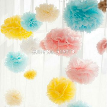 Hot sale Tissue Paper Pom Poms 20pcs/lot  20cm Wedding Party Decor Craft Paper Flowers Fur pompom