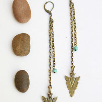 Beautiful Tribal Boho chic long brass Arrowhead earrings/Native/tribal/free people style/bohemian/Handmade