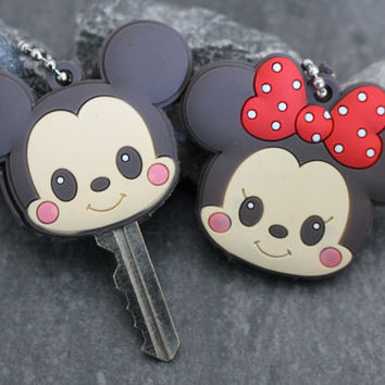 Couples Keychain Set, Mickey Mouse Key ring, Minnie Mouse Key fob, Key Cover, Anniversary Gift, Love, Gift for Her, Car Keychain, Girlfriend