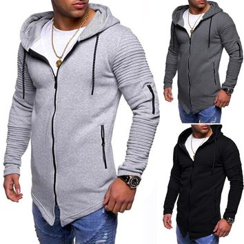 Swagger Dynasty Men Casual Autumn Long Sleeve Slim Zipper Solid Color Hooded Coat Tops Blouse