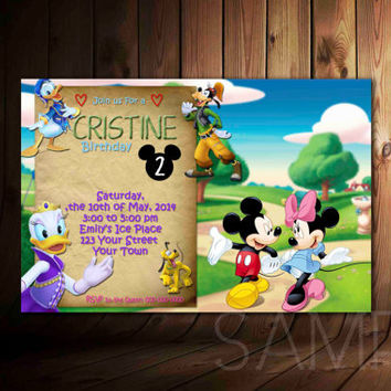Mickey Minnie Mouse, Daisy Donalg, Guffy, Birthday Invitation