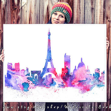 Paris City Skyline, Art Print, Paris  poster, France print, Home decor, Eiffel Tower