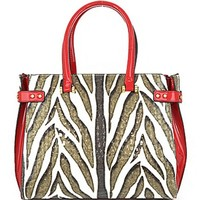 Zebra Print Patent Leather Top Handle Tote Purse w/ Shoulder Strap Red