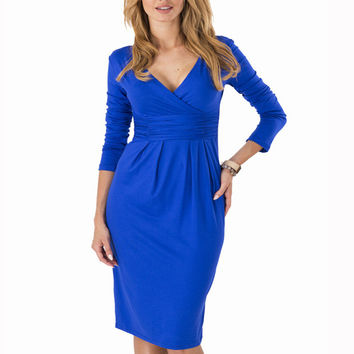 6 Colors Elegant  V-neck Long Sleeve Pleated Slim Dress