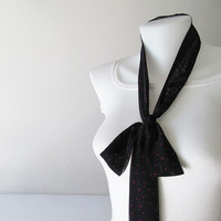 Black Skinny Scarf, Red Heart Print Scarf, Chiffon Scarf, Long Thin Scarf with Angled Ends, Neck Tie, Headband, Spring Summer Fashion
