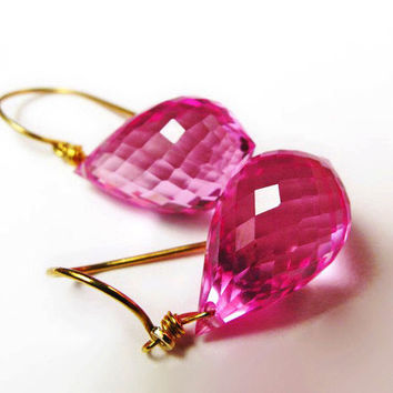14K Pink Topaz Earrings, 18K Pink Topaz Earrings