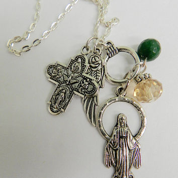 Miraculous Medal Virgin Mary Chain Necklace Holy  Catholic Charms  Jewelry
