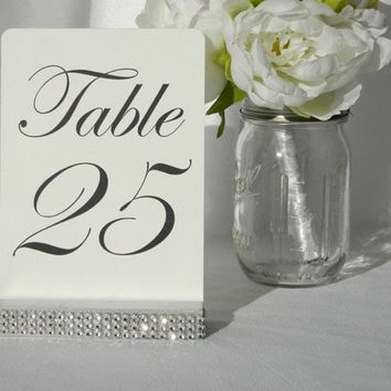 Silver Table Number Holders, Silver Bling Wedding Table Number Holders- 5 inch (Set of 20)