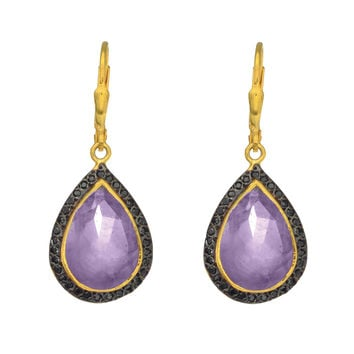 Drop Amethyst Earrings Set In Yellow Gold Plated Sterling Silver Surrounded By Black Spinel