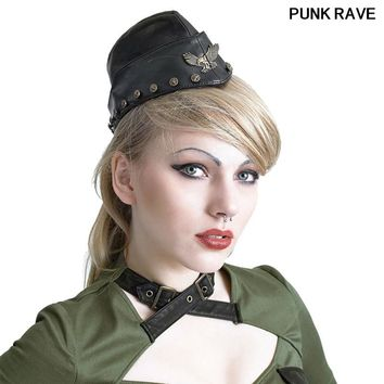 Soviet cool Black visual kei eagle buttons caps Steampunk PU leather military ship hat unisex Punk Rave S-164