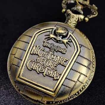 Vintage Unique Large Nightmare Before Christmas Pocket Watch Necklace  (Color: Bronze) = 1714507204