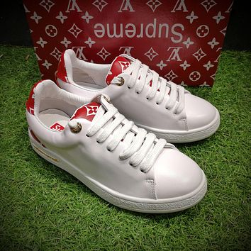 Best Online Sale Hot Supreme x Louis Vuitton Fashion Plate Shoes White Red Casual Shoe