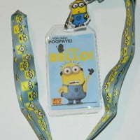"Despicable Me 2 Movie I Say Bello! 20"" Lanyard with Minion Dave Charm NEW UNUSED"
