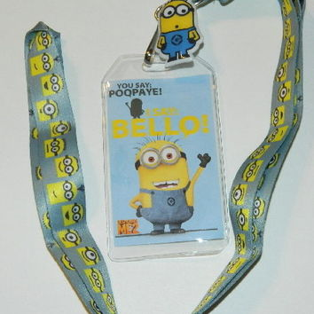 """Despicable Me 2 Movie I Say Bello! 20"""" Lanyard with Minion Dave Charm NEW UNUSED"""