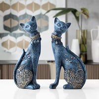 Figurine Cat Decorative Resin Statue For Home Decorations European Style