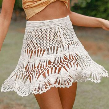 Fashion Crochet Women Short Skirt Casual Holiday Beach Mesh Skirt Female Sexy Hollow High Waist A-Line Skirt