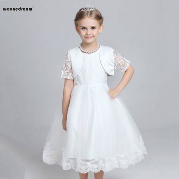 Flower girl dresses white Two Pieces Set Bow for wedding 2017 summer Ball Gown Lace Performance Clothing for Weddings Party