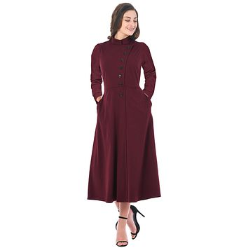 Purplish Red Side Button Mandarin Collar A-line Midi Dress