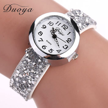 Duoya Luxury Women Watches Ladies Crystal Bracelet Watches Casual Rhinestone Dress Quartz Wristwatch Hot Clock Free Shipping