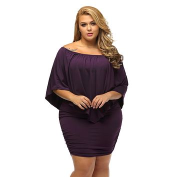 Plus Size Multiple Dressing Layered Purple Mini Dress