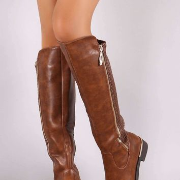Vegan Leather Quilted Zipper Trim Riding Knee High Boots