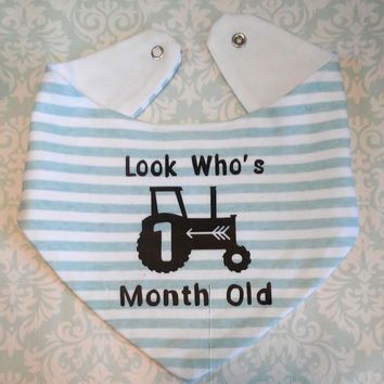 Look who's one month old baby bib, white and blue stripes, Tractor baby, Monthly baby photo props, farmers son bib, country baby bandana bib