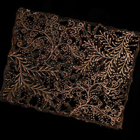 "Batik Stamp 7.1""Vintage Indonesia Copper Tjap Batik Textile/Fabric Stamp Ink Block Sarong Javanese Traditional Collectible Foliage Design"