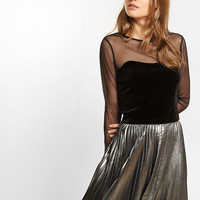 Velvet And Mesh Cropped Top