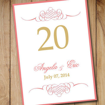 "Wedding Table Number Template Download | Beach Wedding Table Card ""Yovina"" - Coral Pink Gold Microsoft Word Template 