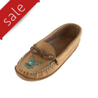 Women's Soft-Sole Moosehide Leather Beaded Moccasins Maple Tan - B4890