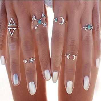 Vintage Silver Arrow Moon Turquoise Joint Knuckle Nail Midi Ring Set