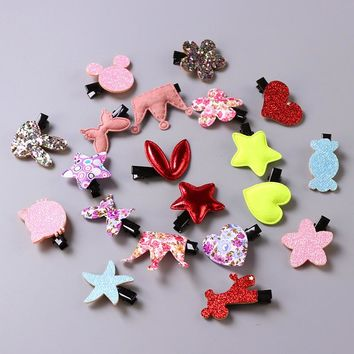 20pcs/bag girl hair accessories cute princess crown hair clip hairpins thumb hair bands gum children hair ornaments rubber band