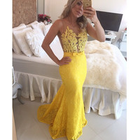 Appliques Sashes Lace Pearls Long Yellow Prom Dress Sleeveless Scoop Mermaid evening Dress floor Length Pageant Dress For Women