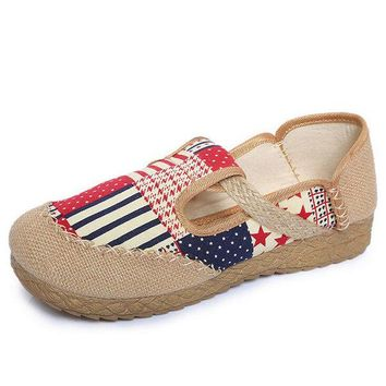 Colorful Cloth Woven Pattern Flat Vintage Shoes