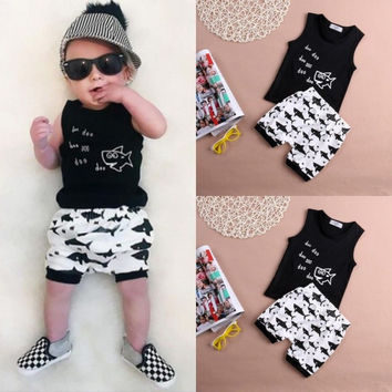 Cotton Sleeveless Vest letter baby boy clothing sets