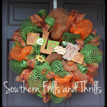 Fall Deco Mesh Wreath, Autum Deco Mesh Wreath, Burlap Wreath, Jute Wreath, Fall Wreath, Deco Mesh Wreath, Autumn Wreath, Fall Door Hanger