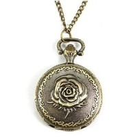 Bronze Tone Rose Case Floral Necklace Pocket Watch Small Size