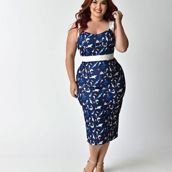 Unique Vintage Plus Size 1950s Style Navy Shark Bait Print Summerstock Wiggle Dress
