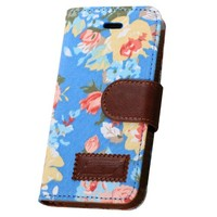 OMIU(TM) Flower Floral Style Wallet Flip Magnet Stand Leather Case Cover with Credit Card Holder for Apple iPhone 5 5S(Blue), with Screen Protectors, Stylus and Cleaning Cloth