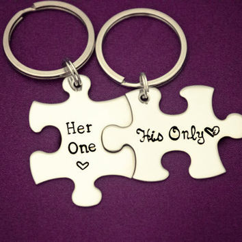 Her One, His Only - The Original - Hand Stamped Puzzle Piece Keychain Set - Couple Key Chain Gift - Wedding, Anniversary or Birthday Present