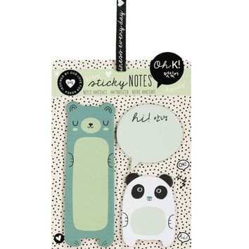 Oh K! Animal Sticky Notes 3-Pack - Colored Bear, Panda Bear and Speech Bubble