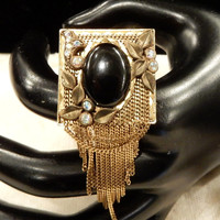 Vintage  Marena (Germany) Black Onyx, AB Rhinestone Dangle Brooch Pendant