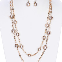 Double Layered Pearl Stone Earring & Necklace Set