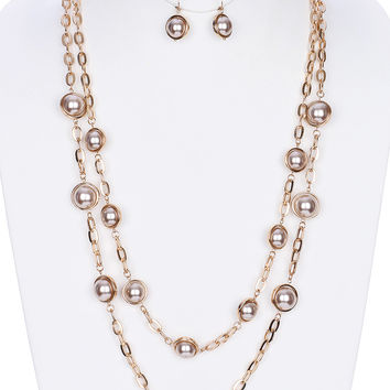 Double Layer Pearl Chain Necklace And Earring Set
