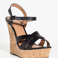 Serum Strappy Cork Wedge