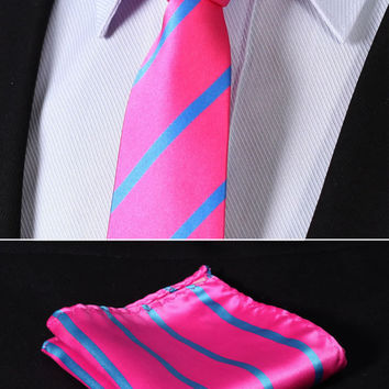 "TS2013K7 Pink Blue Skinny Stripes 2.75"" 100%Silk Woven Slim Skinny Narrow Men Tie Necktie Handkerchief Pocket Square Suit Set"