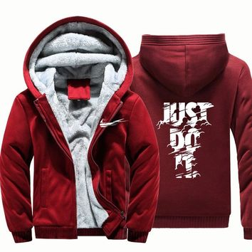 Hoodies just do it Sweateshirts Men Winter Warm Thick Plus Velvet Hoodies Jacket Parkas Casual Solid Streetwear Mens Cardigan
