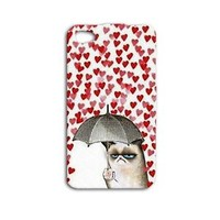 Grumpy Cat Cute Funny Phone Case iPhone Heart Rain iPod White Red Pet Animal