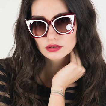 Red Chunky Cat Eye Tinted Sunglasses